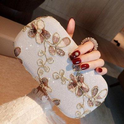 花朵晚宴包迷你手拿包時尚鑲鑚手抓包禮服包旗袍女包包小