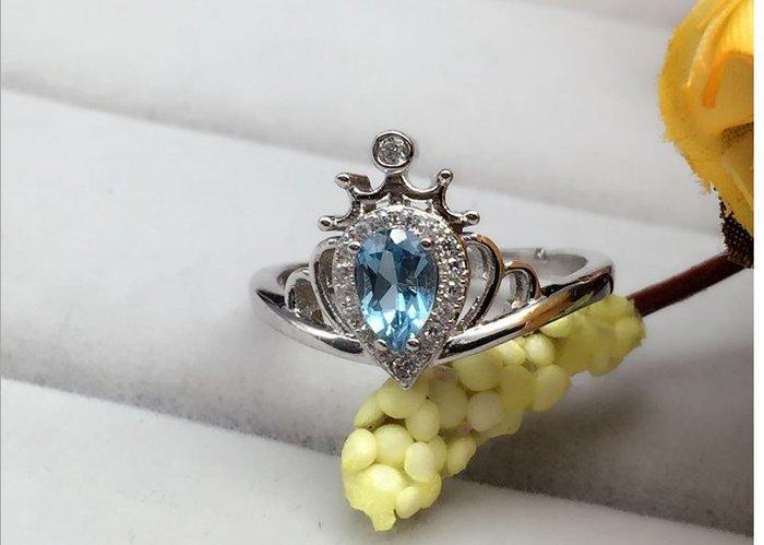 AAA藍拓帕石925銀镶镶镀白金活口戒指 權威證書 主石尺寸:6X8mm