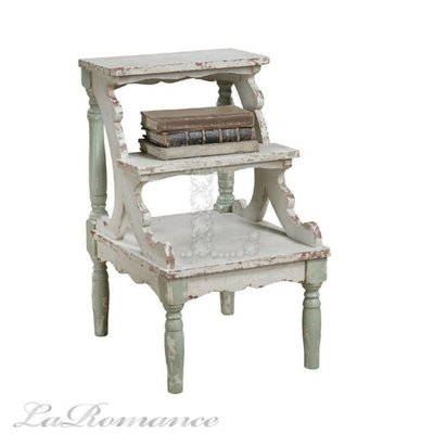 【Creative Home】Seaside 海洋風情系列木製三層仿古桌 / 階梯 / 展示架