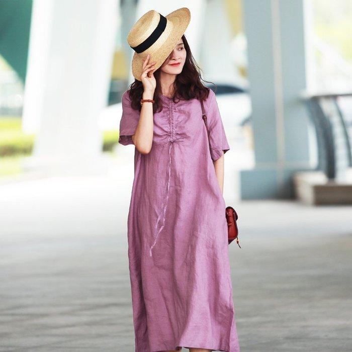 【鈷藍家】棉麻臆想 夏純亞麻長裙OP懶人裙前抽褶顯瘦顯白寬鬆圓領短袖長連身裙