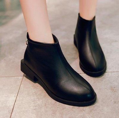小短靴女新款秋季英倫風百搭小跟學生后拉鏈短筒小皮靴女靴子