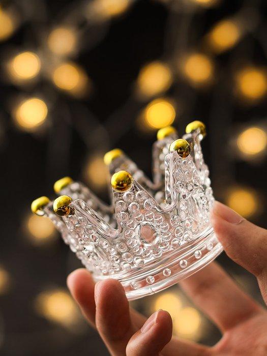 北歐創意玻璃皇冠燭臺浮雕戒指美妝蛋托放化妝蛋的架子首飾收納盒-青木居家