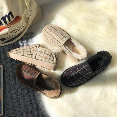 雪地靴女2019新款韓版百搭學生棉鞋女冬加絨一腳蹬網紅短靴面包鞋