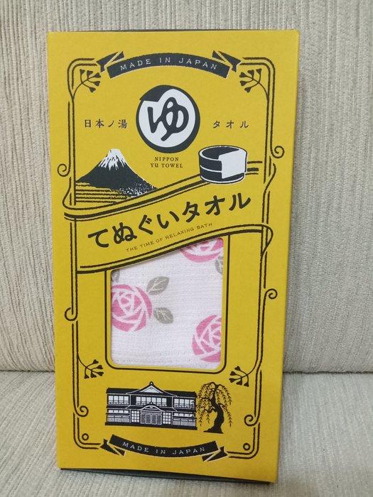 天使熊雜貨小舖~日本帶回風呂泡湯毛巾  加長版  100%綿  日本製  現貨:玫瑰花/富士山2款 全新現貨