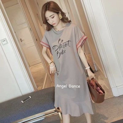 *Angel  Dance*短袖純棉洋裝(4色)韓系 M到4XL 魚尾裙 蝙蝠袖 T恤裙 大中尺碼 寬鬆@現貨+預購