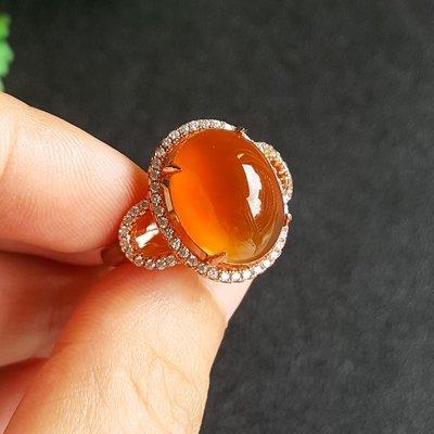菩提雅尚飾品珍玩 天然冰種阿拉善玉糖心瑪瑙戒指女起熒光戈壁紅玉髓s925銀鑲嵌戒指