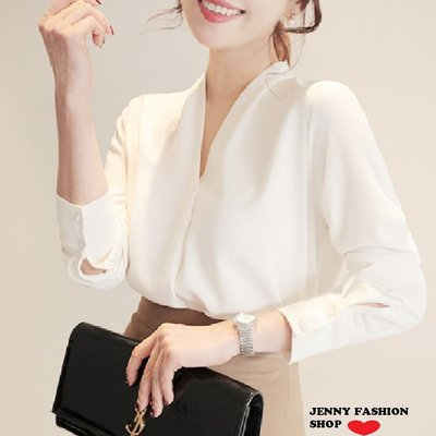 ∴?☆ 【JENNY SHOP】☆*∴ 韓國連線 正韓~時尚V領寬鬆雪紡襯衫-預購