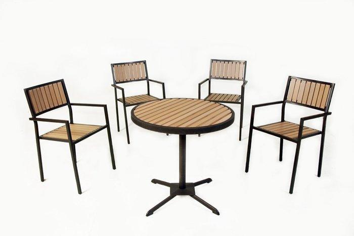 [兄弟牌戶外休閒傢俱] 塑木圓桌1張+塑木椅4張/組合~餐飲營業或自用陽台公園,堅固耐久用好維持。庭院休閒傢俱.