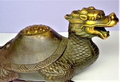 @居士林@鎏金銅雕太極『龍龜』-壽龜.尺寸:長13.5公分.高7.5公分.寬8公分.重約463公克