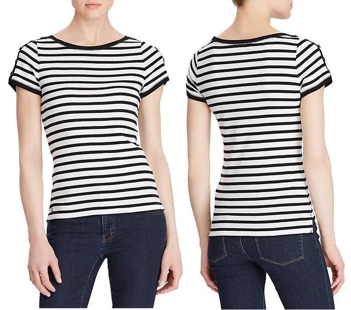 Lauren Ralph Lauren LRL 現貨 女生款 短袖 T恤 黑白 條紋