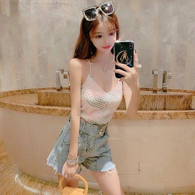 韓版 平口T恤 一字肩 女裝V領露肩性感吊帶亮片刺繡打底背心百搭上衣