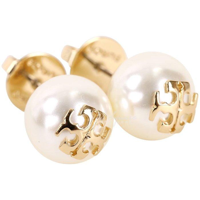 米蘭廣場 TORY BURCH Crystal-Pearl 施華洛世奇水晶珍珠蝶型穿釦耳環(金色)1740332-24