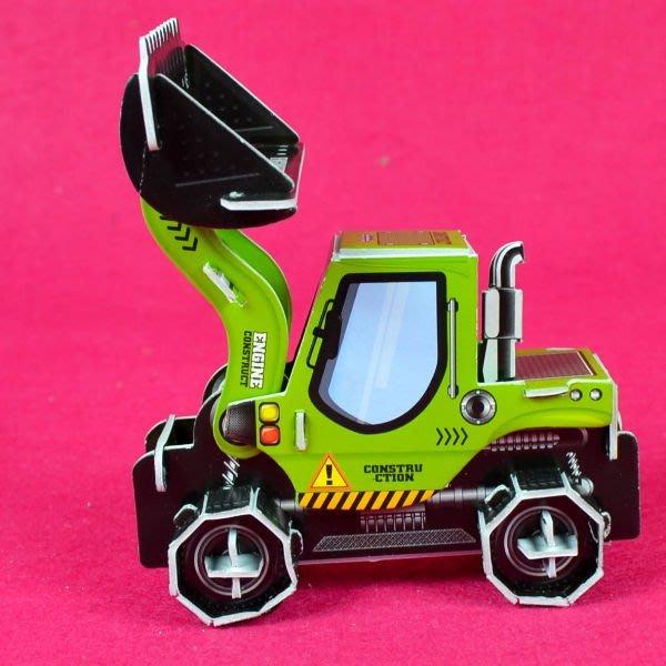 佳廷家庭 親子DIY紙模型3D立體拼圖贈品獎勵品專賣店 袋裝工程車3綠 推土機 Calebou卡樂保