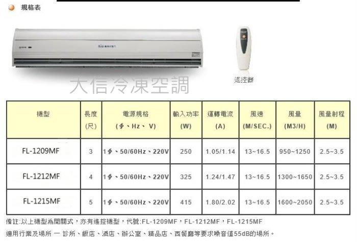 【議晟空氣門】【遙控型FL-1215MF/靜音離心機/2段風速220V】5尺空氣門 風量射程 2.5/3.5M