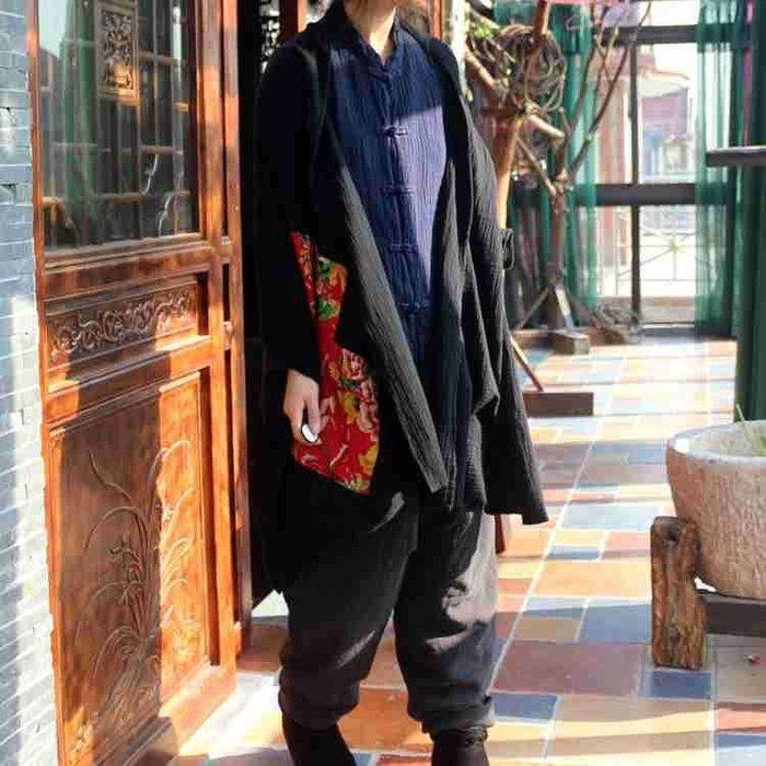 【子芸芳】原創純棉肌理皺貼老花布大圍巾披肩