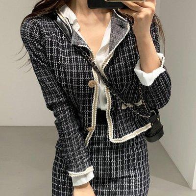 小香風典雅兩件套2件式 格紋開衫針織外套+包臀半身裙套裝 艾爾莎【TAE8055】