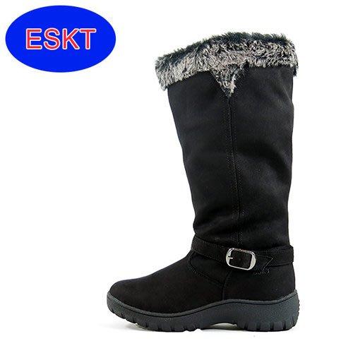 丹大戶外【ESKT】女中筒保暖內刷毛直筒雪靴/雪鞋/專利冰爪/耐磨防滑鞋底 SN206 黑色