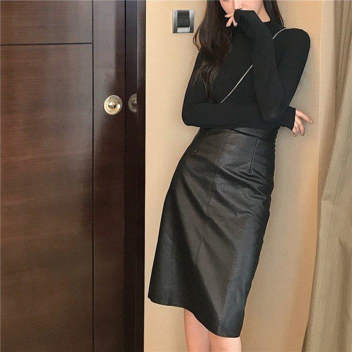 Modem Girl♥100%實拍 顯腿長~皮革A字高腰長裙