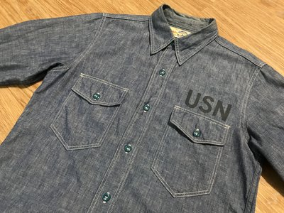 日本製真品The Real McCoy's U.S.N. CHAMBRAY SHIRT復刻40s美軍海軍藍色工作襯衫14