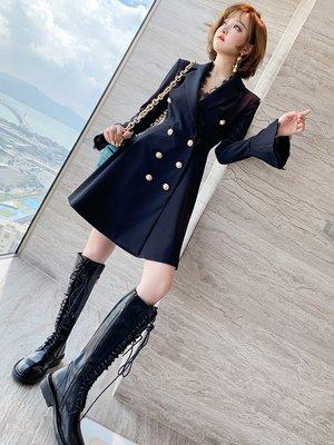 Tang Korea 韓國大碼女裝 拼接蕾絲花邊西裝翻領喇叭袖雙排扣連衣裙