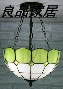 【優上精品】31CM彩色玻璃燈飾 綠色地中海 簡約反吊燈(Z-P3214)