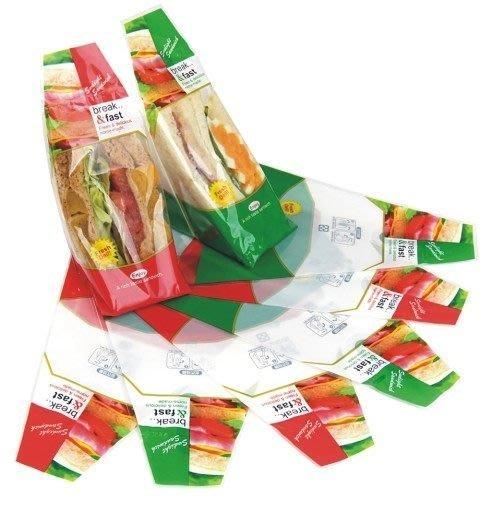 三明治袋工廠+[ 精緻三明治袋 ]斜口 #60紅/綠(100只/1包)&一箱10000只=7500元(免運費)最便宜!