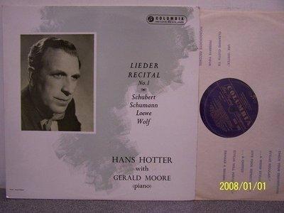 【Columbia LP名盤】2214.Hans Hotter演唱舒伯特,沃爾夫,舒曼歌曲集(曲目詳照片)