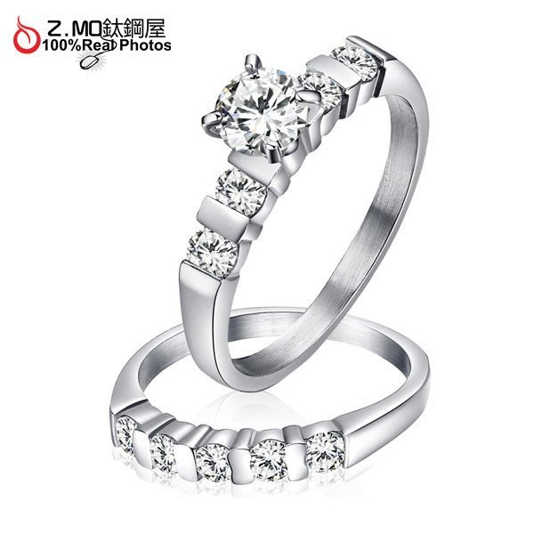 情侶對戒指 Z.MO鈦鋼屋 情侶戒指 水鑽戒指 白鋼戒指 水鑽戒指  線條戒指 情人節 刻字【BGY045】單個價