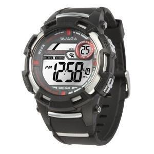 【元電】【JAGA 專賣店】台灣設計 捷卡 M819-A(黑) 電子錶 大數字 倒數計時 鬧鈴 兩地時間