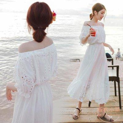 波西米亞白色沙灘裙女夏新款巴厘島海邊度...