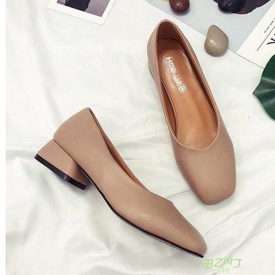 低跟鞋 方頭粗跟單鞋秋季復古軟皮簡約黑色工作女鞋舒適低跟鞋  快速出貨