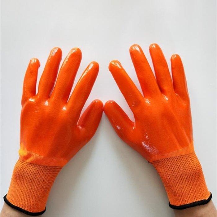 手套勞保 pvc滿掛塑膠加厚防水防滑耐油耐磨全浸膠皮工作防護手套