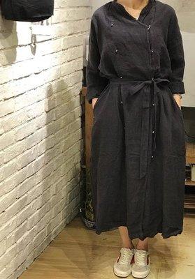 |The Dood Life|nest Robe  MB 復古英式雙排釦 水洗亞麻 繫帶風衣 長外套
