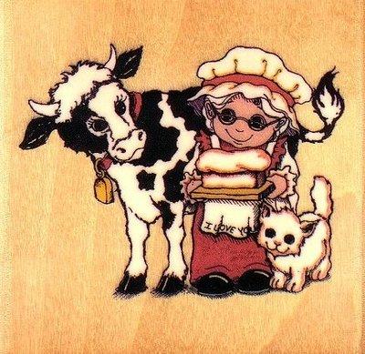 陽光一品DIY卡片印章專賣店~~木頭印章~~老奶奶與乳牛~# JB-24G#~~美國製絕版品
