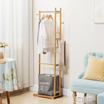 ZIHOPE 掛衣服的架子落地掛衣架臥室簡易現代簡約衣帽架韓式家用實木組裝ZI812