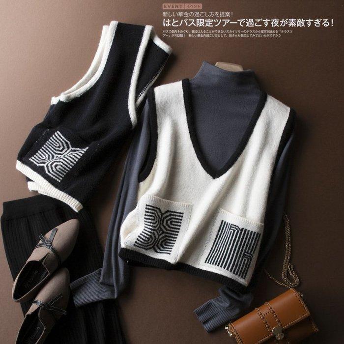 精品款-前襟的兩個口袋不同的圖案設計馬甲背心