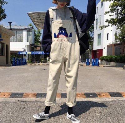 每週新品 春秋裝2019新款韓版寬鬆顯瘦刺繡森女系網紅同款牛仔背帶褲女長褲