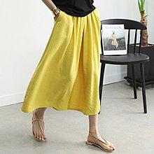 Bellee 正韓 超涼爽  鬆緊棉麻混紡寬管褲裙 (3色)  【Z61197】 預購