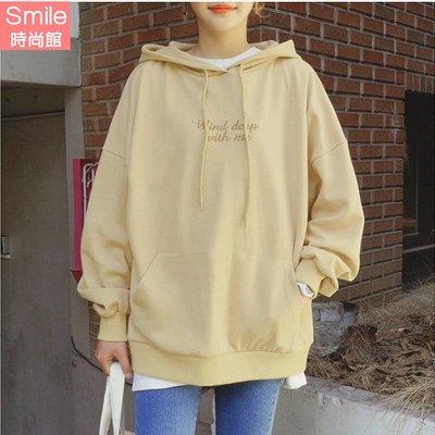 【V2596】SMILE-原宿風‧ 刺繡字母連帽刷毛長袖上衣