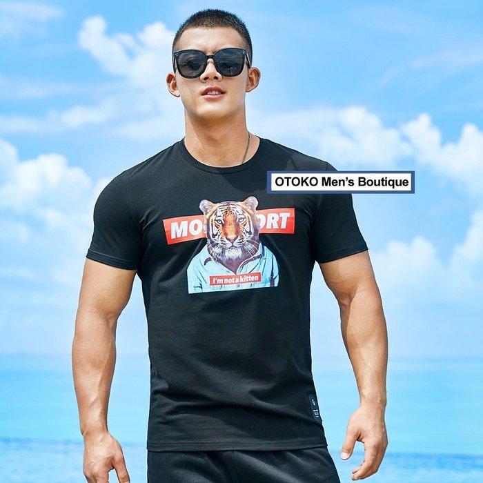 【OTOKO Men's Boutique】MOEA墨立方:tiger老虎休閒TEE/黑色(台灣獨家代理)