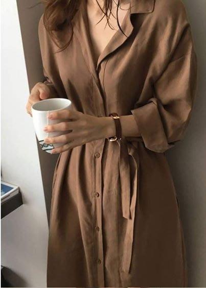 現貨 韓版收腰長洋裝襯衫 長版連衣裙 長版風衣外套