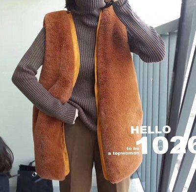 ++1026++歐美ZARA風 合身寬鬆 保暖厚度無袖罩衫馬甲 兔毛羊毛仿皮草 狐狸毛披肩外套 中長版短毛毛絨背心