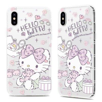 正版 Hello Kitty 空壓氣墊防摔水鑽保護軟殼-寵愛款 iPhone X