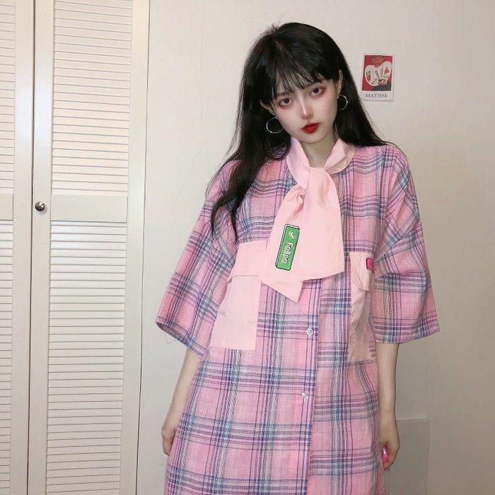 小香風 短袖T恤 時尚穿搭 系少女韓國chic復古原宿寬松可愛少女童趣刺繡格子襯衫
