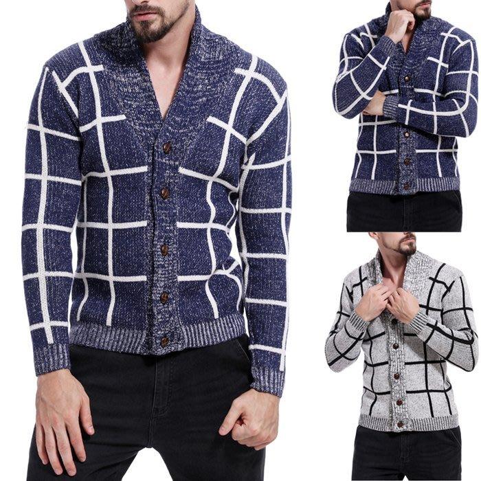 『潮范』 WS11 男士新款拼色圖案毛衣 撞色外貿鏤空高領格紋毛衣 格紋針織衫 開衫NRG2667