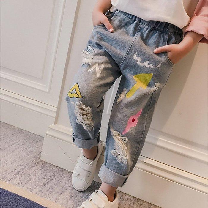 【溜。溜。選物】春夏新款*小童塗鴉手繪九分牛仔褲
