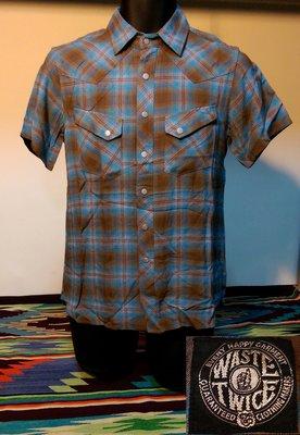 全新日本製WASTE TWICE 藍棕格紋WESTERN SHIRT西部牛仔短袖襯衫 2/S號 美式復古品牌 保證真品