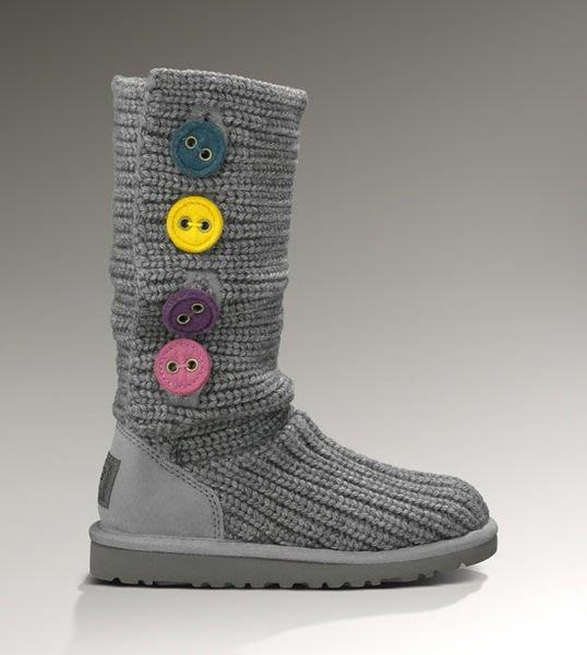 【BJ.GO】 UGG_KIDS CARDY II 甜美彩色鈕扣毛線毛毛雪靴 3號現貨在台