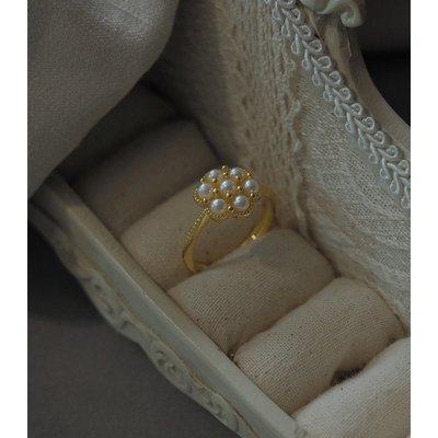 精緻life七顆小珍珠戒指925純銀開口可調節指環淑女氣質90221