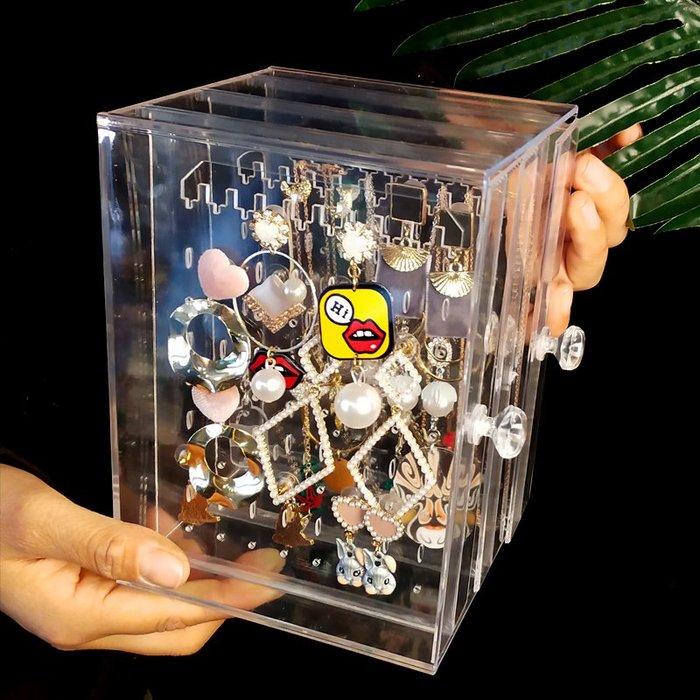[C.M.平價精品館]潔淨透明精緻實用耳環掛飾收納盒  13*13*18.5CM